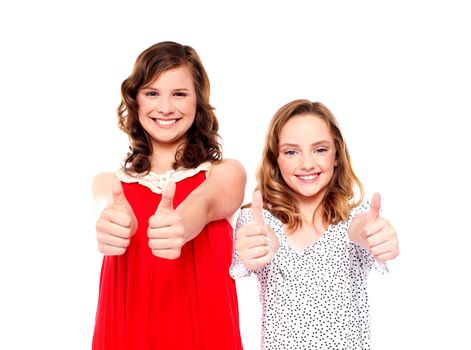 Two friends gesturing thumbs up