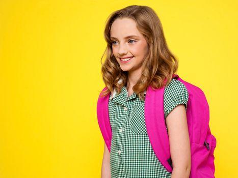 School girl with backpack
