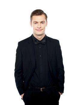 Elegant positive young guy posing