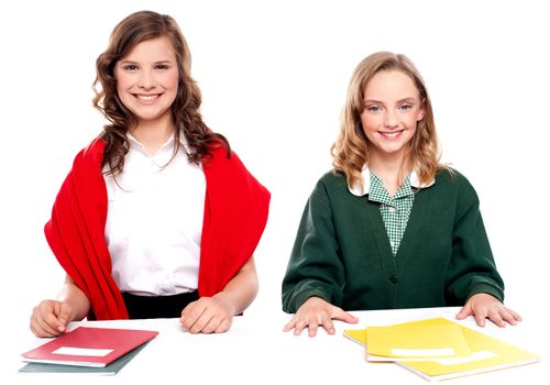 Portrait of teenager students with notebooks