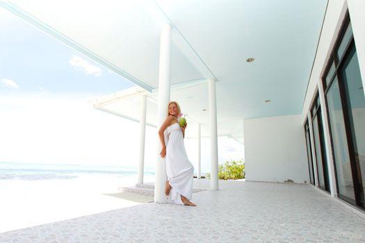 tropic woman on the veranda