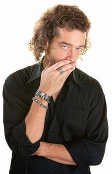 Concerned Man Over White