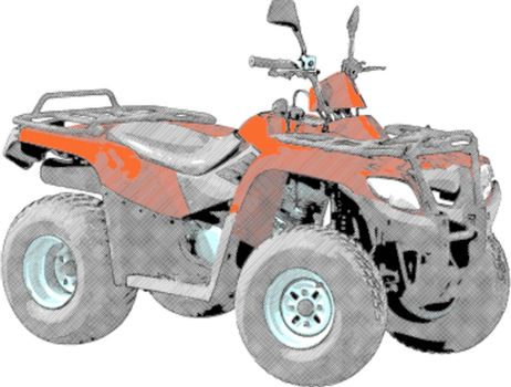 Quad bike - Four-wheel motorcycle. Vector illustration.