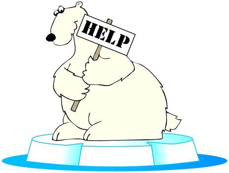 Polar bear in trouble