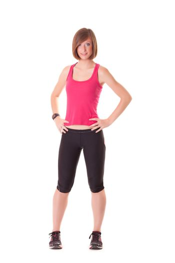 young beautiful sport woman standing isolated on white background