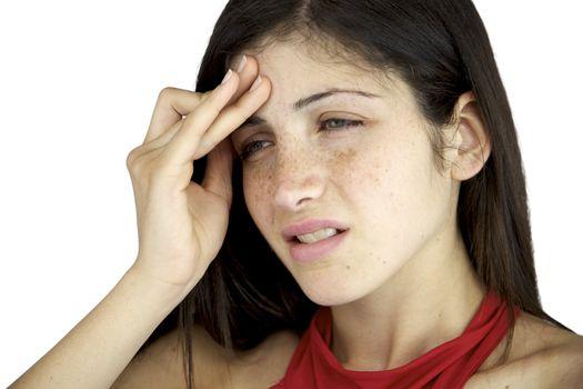 Beautiful woman with terrible head ache