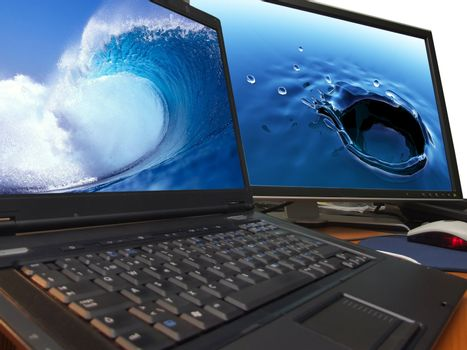 water concept on laptop and big widescreen tft display