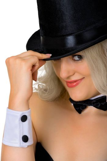 Young girl - a dancer in a black hat, close-up