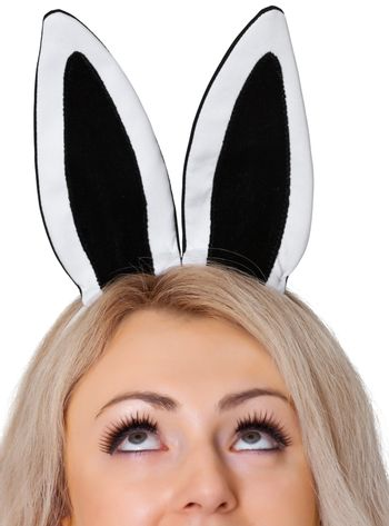 The girl's face with the rabbit ears isolated on white background