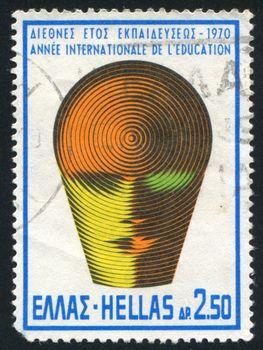 GREECE - CIRCA 1970: stamp printed by Greece, shows Education emblem, circa 1970