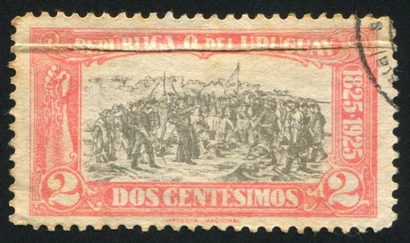 URUGUAY - CIRCA 1925: stamp printed by Uruguay, shows Landing of the 33 Immortals Led by Juan Antonio Lavalleja, circa 1925