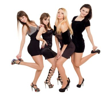 Image of three beauties in black dresses posing fo photo