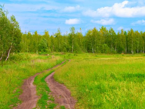 dirt road in the summer, plain
