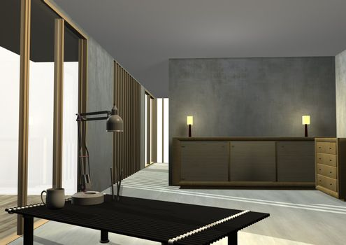 Tropical Housing Interior Rendered
