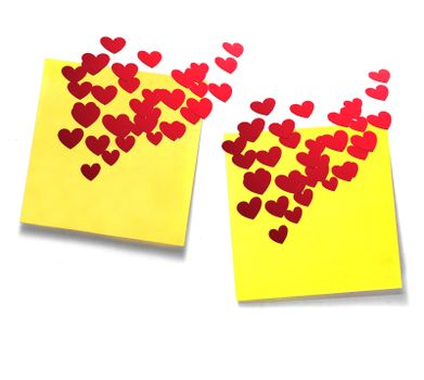 Yellow sticky notes with with many red hearts