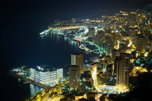 aerial view of Monaco, Monte Carlo by night