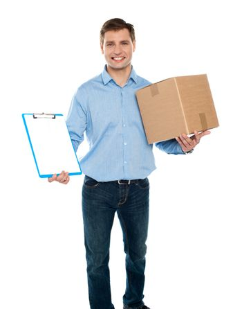 Kindly accept the delivery. Courier services