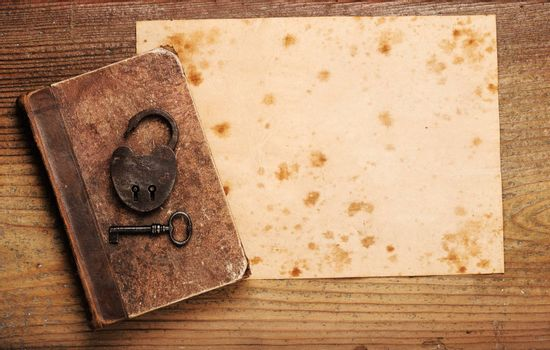 old paper background texture, with book and old key
