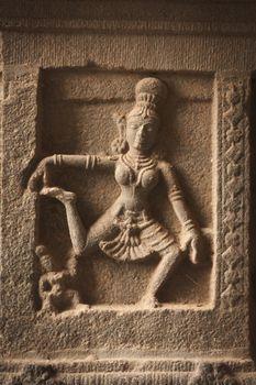 Bas reliefs in Hindue temple. Arunachaleswar Temple. Thiruvannam