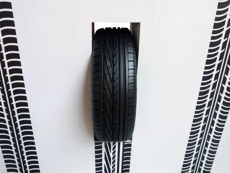 Wheel pneumatic car tire mark