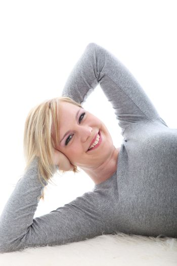 Happy woman smiling in satisfaction