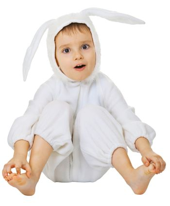 Funny kid in the costume of the rabbit isolated on white background