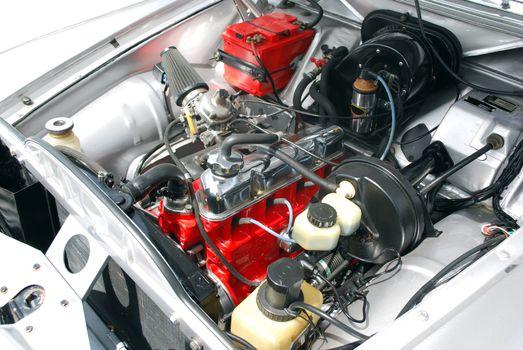 Detail of oldtimer car engine