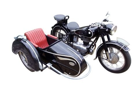 Oldtimer motorbike with trailer isolated