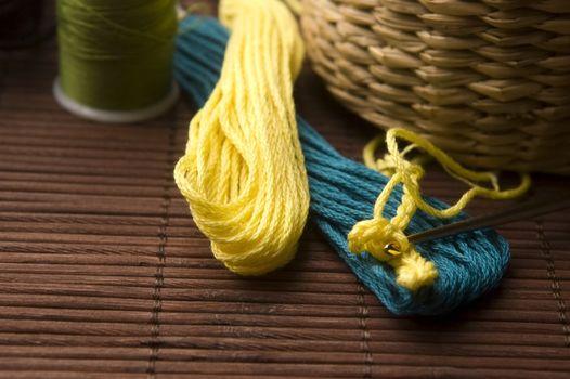 Crochet hook and wool