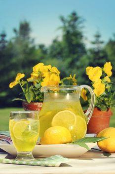 Fresh lemonade on a summer day