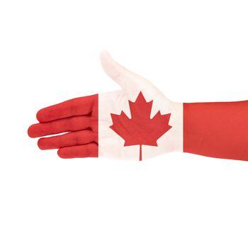 Canada flag on hand