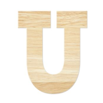 Letter U from wood board