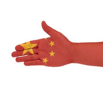 China flag on hand
