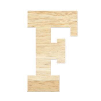 Letter F from wood board