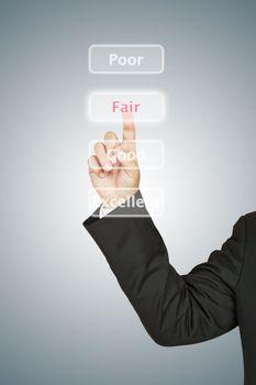 Businessman push Fair button