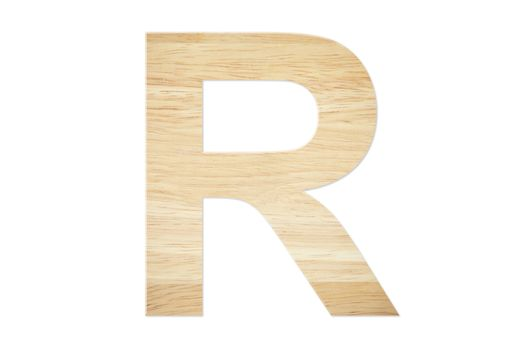 Letter R from wood board