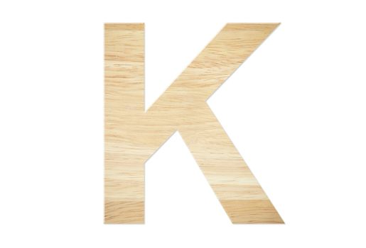 Letter K from wood board