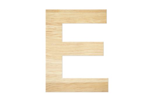 Letter E from wood board