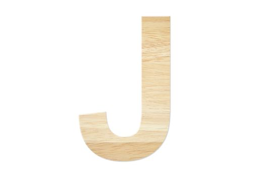 Letter J from wood board