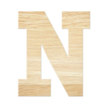 Letter N from wood board