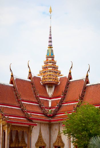 Detail of the facade of an old Buddhist temple. Thailand, wat Chalong.