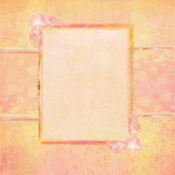 Grunge Frame For Congratulation With Flower - retro card