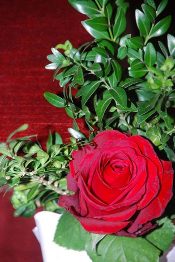 beautiful bouquet with red roses for a wedding in the summer