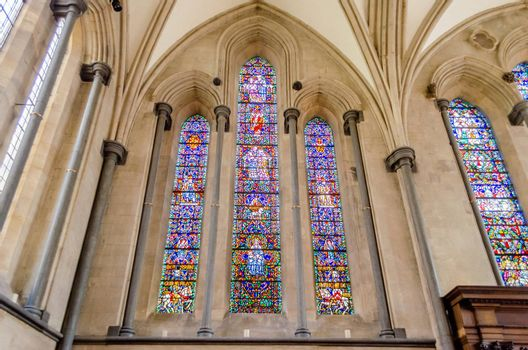 Stained-glass windows at Temple Church, London, UK