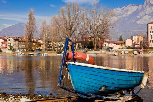 Boat on lake bank