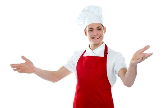 Handsome carefree male chef