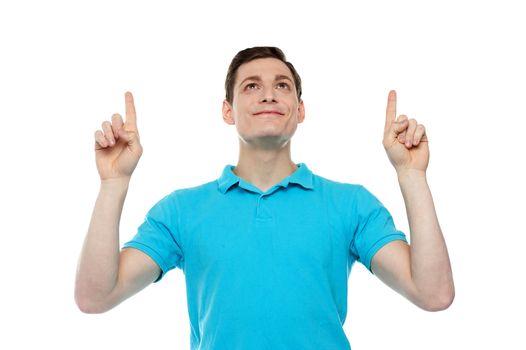 Caucasian man point fingers up