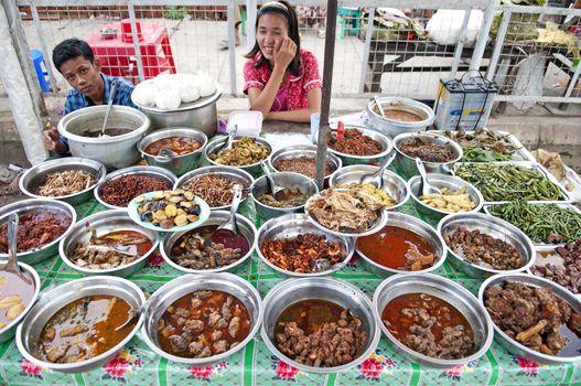 food stall in yangon myanmar with burmese food