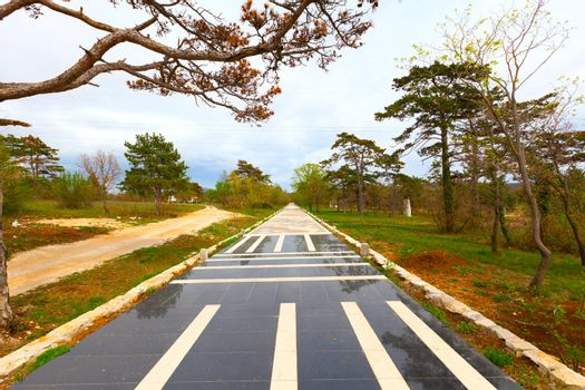 panel of sidewalk in Istria, Croatia