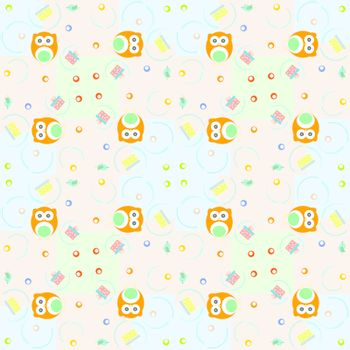 Set of vector elements - owls, birds, gift boxes. Seamless background